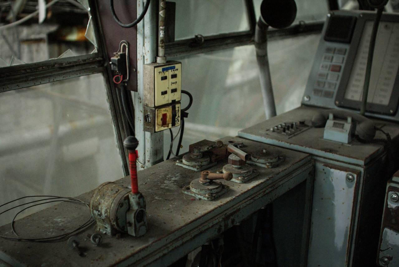 住友赤平炭鉱立坑内部の機械