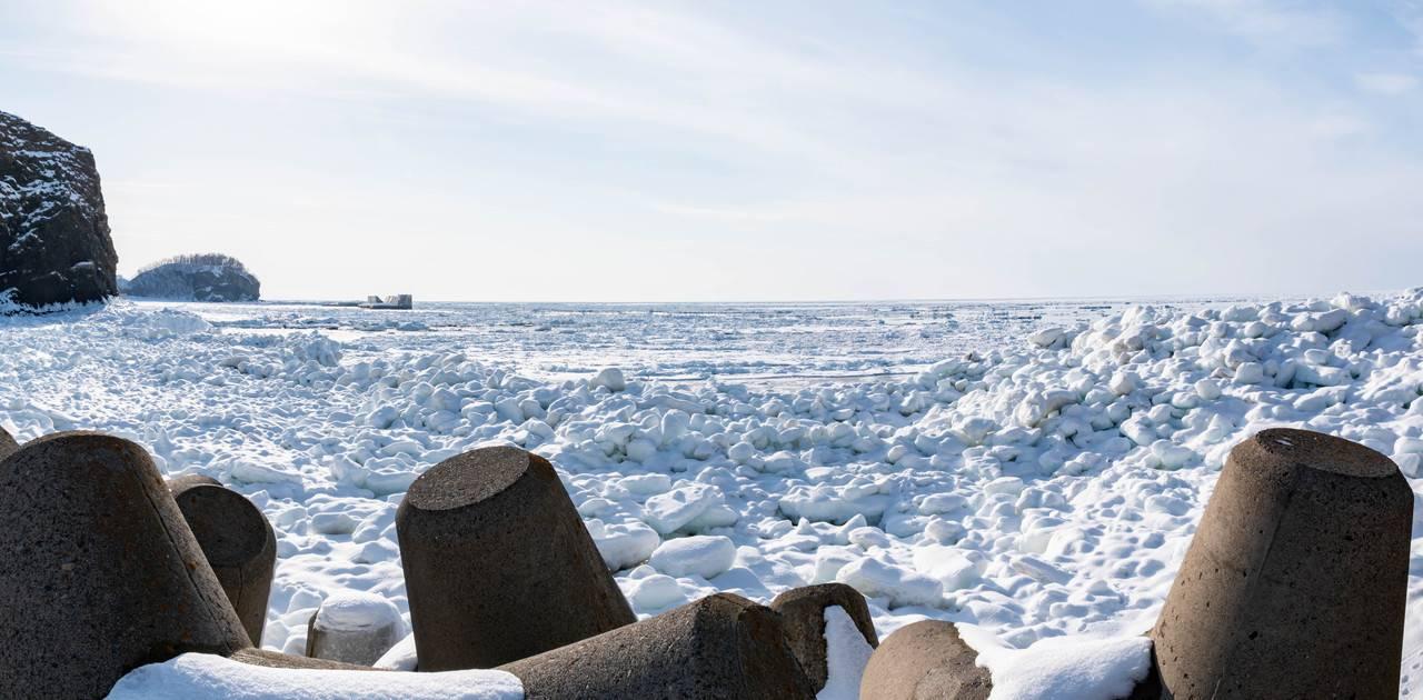 オロンコ岩駐車場から見る流氷